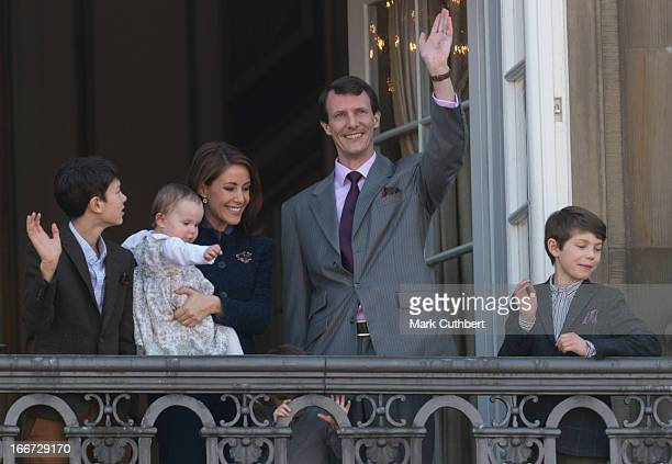 Queen Margrethe of Denmark celebrates her 73rd Birthday with members of the Danish Royal Family on the Balcony of Amalienborg Palace at Amalienborg...