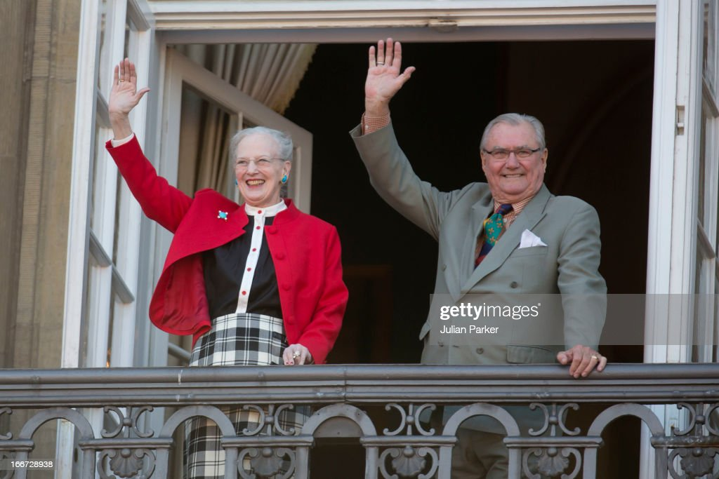 Queen Margrethe of Denmark celebrates her 73rd Birthday with Prince Henrik on the Balcony of Amalienborg Palace on April 16, 2013 in Copenhagen, Denmark.