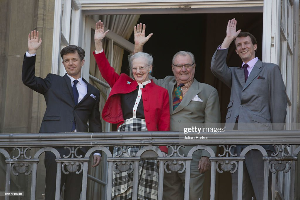 Queen Margrethe of Denmark (2nd,L) celebrates her 73rd Birthday with Prince Henrik (2nd,R), Crown Prince Frederik (L) and Prince Joachim (R) con the Balcony of Amalienborg Palace on April 16, 2013 in Copenhagen, Denmark.