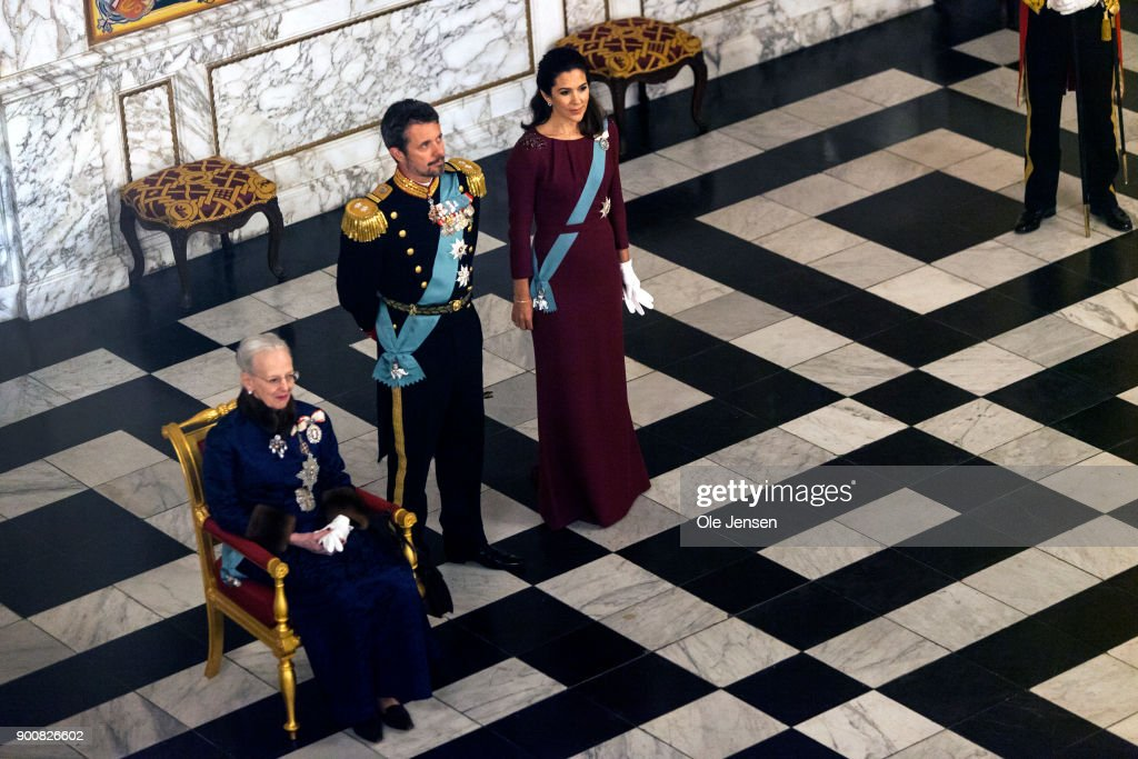 Queen Margrethe of Denmark (L), Crown Prince Frederik and Crown Princess Mary during the Queen's Traditional New Year's Banquet for foreign diplomats hosted by the Queen at Christiansborg Palace on January 3, 2018 in Copenhagen, Denmark.