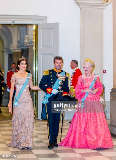 Queen Margrethe of Denmark Crown Prince Frederik of Denmark and Crown Princess Mary of Denmark during the gala banquet on the occasion of The Crown...