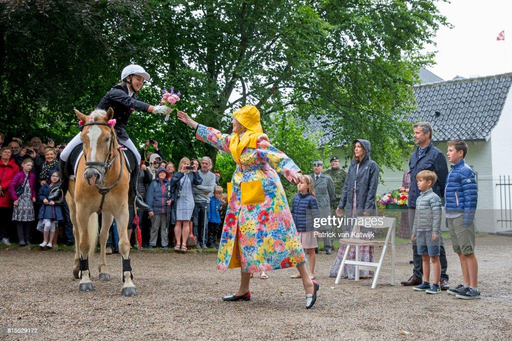 Queen Margrethe of Denmark, Crown Prince Frederik of Denmark, Crown Princess Mary of Denmark, Princess Josephine of Denmark, Prince Vincent of Denmark and Prince Christian of Denmark attend the Ringsted horse ceremony at Grasten Slot during their summer vacation on July 16, 2017 in Grasten, Denmark.