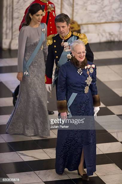 Queen Margrethe of Denmark Crown Princess Mary of Denmark and Crown Prince Frederik of Denmark attend a New Year's Levee held by Queen Margrethe of...