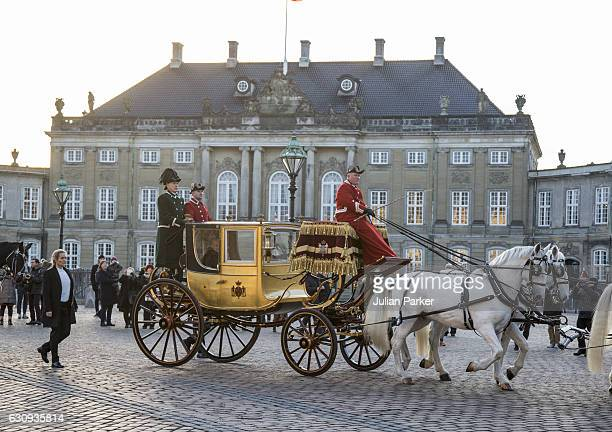 Queen Margrethe of Denmark departs Amalienborg Palace in the Gold Coach to attend a New Year's Levee for officers from the Defence and Danish...