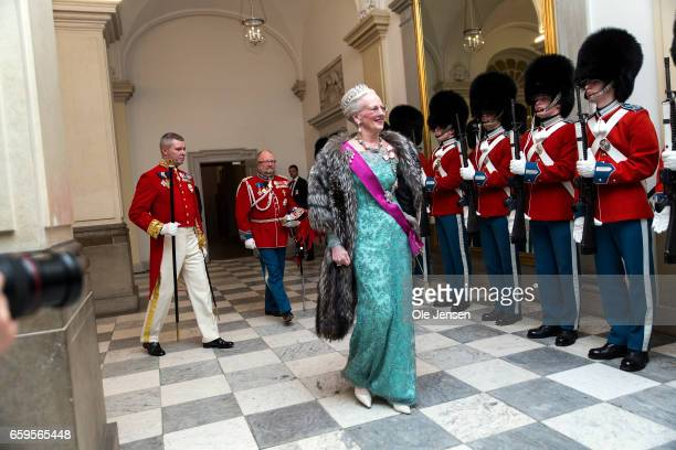 Queen Margrethe of Denmark during arrival to the to the State Dinner on the occasion of the visiting Belgian King and Queen at Christiansborg on...