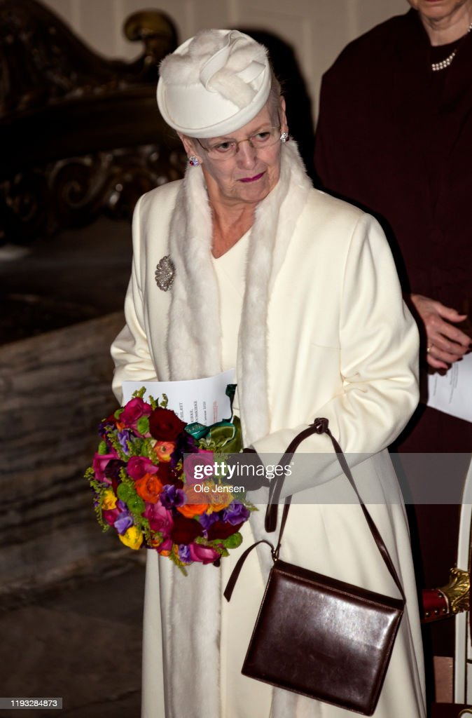 Queen Margrethe Of Denmark Attends A Memorial Service On the Occasion Of The Centennial Year For Reunification Of Southern Denmark : News Photo