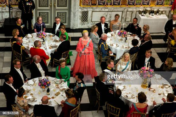 Queen Margrethe of Denmark holds the birthday speech for Crown Prince Frederik of Denmark at the galla dinner in the Knights Hall on the occasion of...