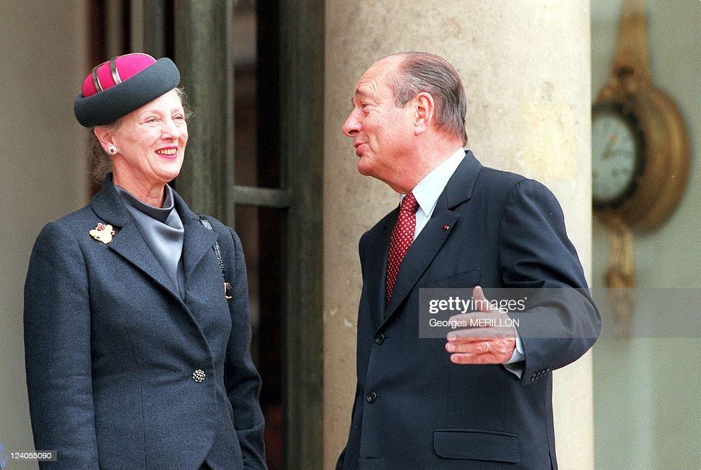 Queen Margrethe Of Denmark In Paris, France On October 12, 1999. : News Photo