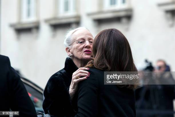 Queen Margrethe of Denmark is greeted by Crown Princess Mary upon arrival to Christiansborg Palace Church on February 17 2018 in Copenhagen Denmark...
