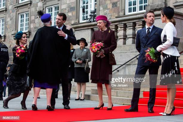 Queen Margrethe of Denmark is greeted by her son Prince Joachim and Princess Benecdikte together with Crown Prince Frederik and Crown Princess Mary...