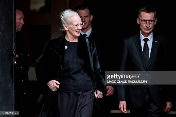 Queen Margrethe of Denmark leaves the Christiansborg Palace Church where the Royal Danish family went to see Price Henrik who is lying in Castrum...