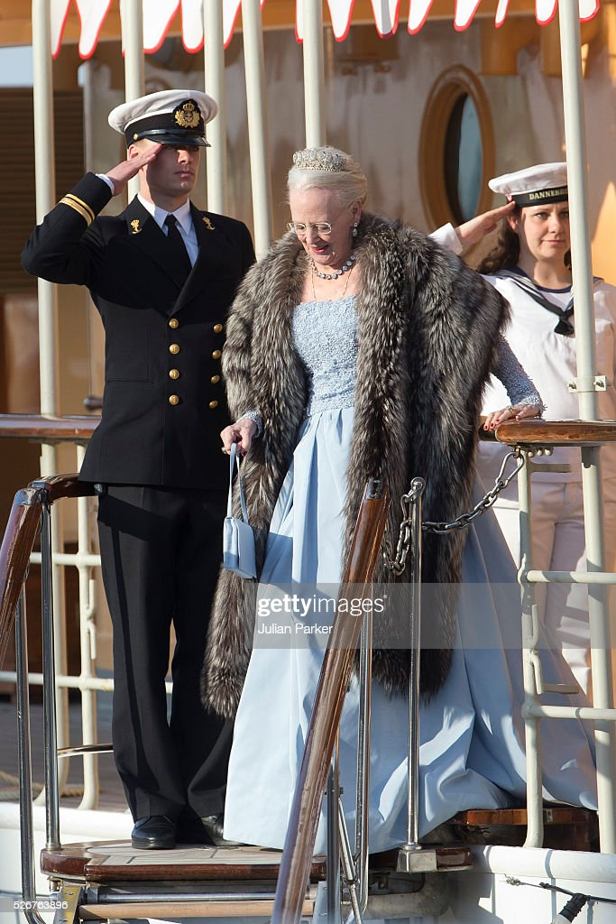 Queen Margrethe of Denmark leaves the Danish Royal Yacht, The Dannebrog, to attend the Banquet at The Royal Palace in Stockholm, on the occasion of King Carl Gustaf of Sweden's 70th Birthday, on April 30, 2016, in Stockholm, Sweden.