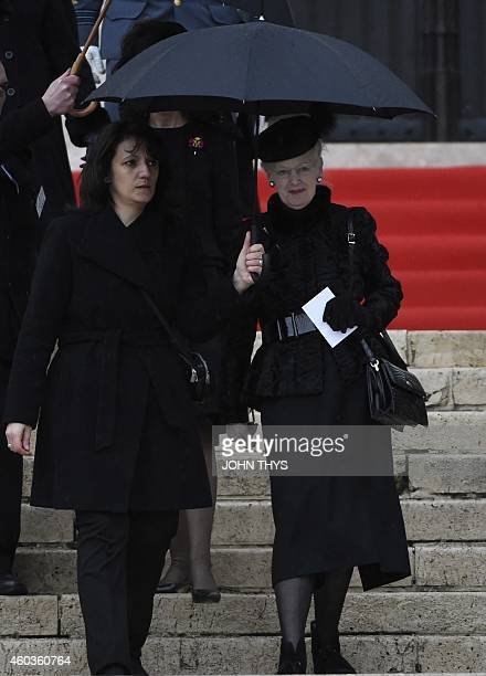Queen Margrethe of Denmark leaves the funeral service of the late queen Fabiola of Belgium at the Cathedral of St Michael and St Gudula in Brussels...