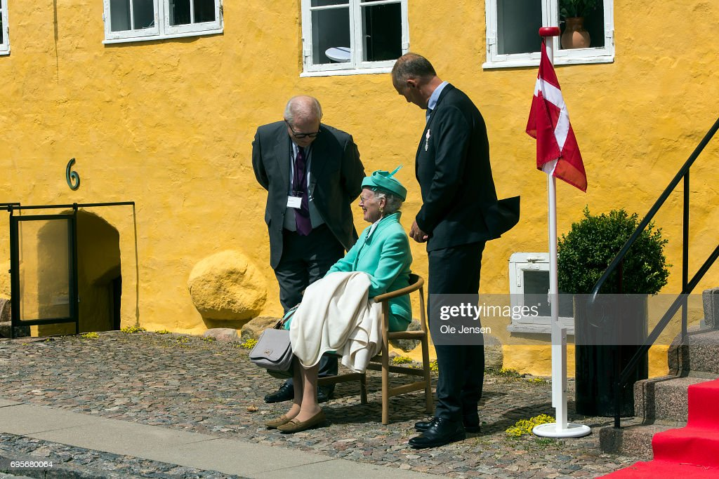 Queen Margrethe of Denmark listen to a new glockenspiel which has been introduced in the cathedral opposite the Queen during her visit to kalundborg where she commence a two days visit on June 13, 2017 in Kalundborg, Denmark. During her stay the Queen will visit many public instituions and private entreprises in Kalundborg, which is a city in western Zealand. After this the Royal ship bring her to Mariager in eastern Jutland for another two days visit.