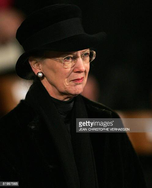 Queen Margrethe of Denmark listens to a sermon during the funeral of Luxembourg Grand Duchess JosephineCharlotte at the Notre Dame Cathedral in...