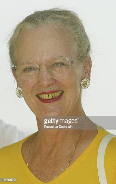 Queen Margrethe of Denmark poses during a photo call in her Castle of Caix August 7 2003 in the village of Caix in southwestern France The queen and...
