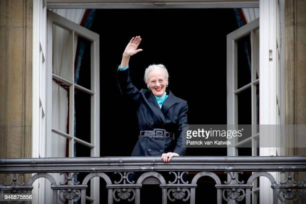 Queen Margrethe of Denmark poses on the balcony of Amalienborg palace during the Danish Queen's 78th Birthday celebrations on April 16 2018 in...