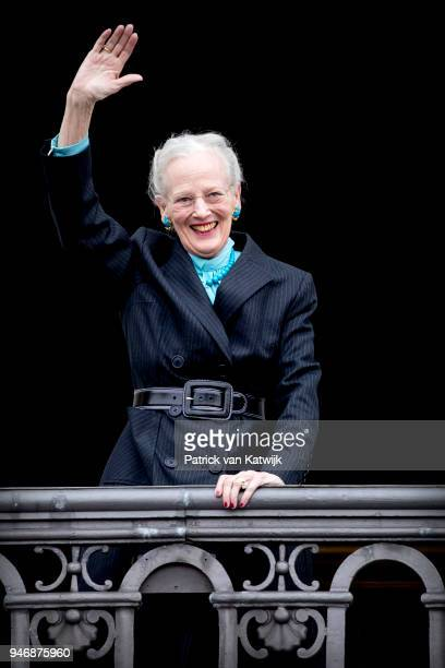 Queen Margrethe of Denmark poses on the balcony of Amalienborg palace during the Danish Queen's 78th Birthday celebrations on April 16, 2018 in...