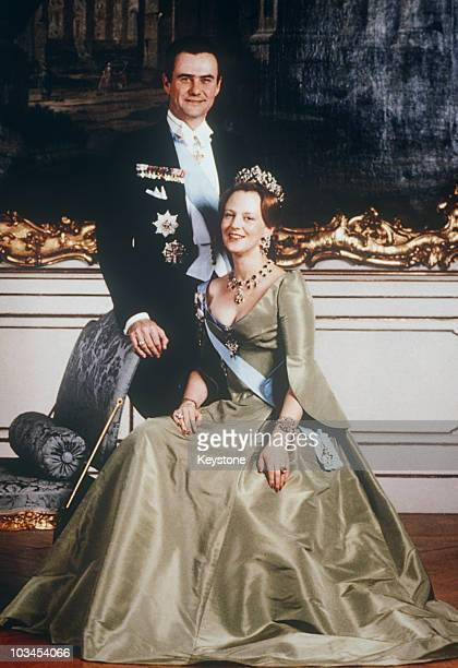Queen Margrethe of Denmark poses with her husband Henrik Prince Consort on her 40th birthday on June 16 1980