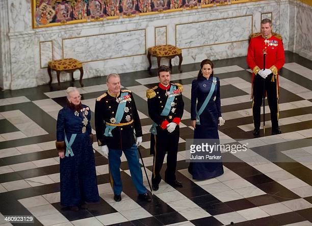Queen Margrethe of Denmark Prince Henrik of Denmark Crown Prince Frederik of Denmark and Crown Princess Mary of Denmark attend a New Year's Levee...