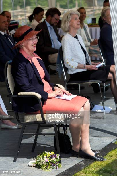 """Queen Margrethe of Denmark seen at opening ceremony of the world largest Viking Hall at the """"Land of Legends"""" Lejre open air museum on June 17, 2020..."""