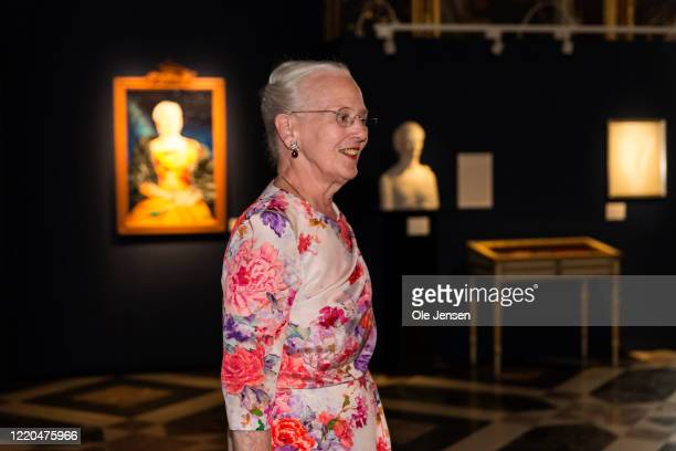 """Queen Margrethe of Denmark seen at the exhibition opening of """"The Faces of the Queen"""" celebrating Queen Margrethe II of Denmark at Frederiksborg..."""