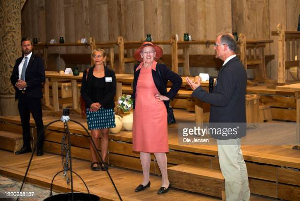 """Queen Margrethe of Denmark seen at the opening of the world largest Viking Hall at the """"Land of Legends"""" Lejre open air museum on June 17, 2020 in..."""