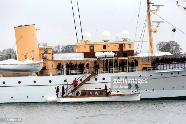 Queen Margrethe of Denmark seen during the official embarkment to the Royal ship, Dannebrog, on May 4, 2021 in Copenhagen, Denmark. Dannebrog lays...