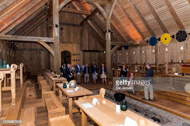 """Queen Margrethe of Denmark seen in the impressive Viking Hall at the """"Land of Legends"""" at Lejre open air museum during the opening ceremony on June..."""