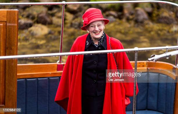 Queen Margrethe of Denmark smiles during the official embarkment to the Royal ship, Dannebrog, on May 4, 2021 in Copenhagen, Denmark. Dannebrog lays...