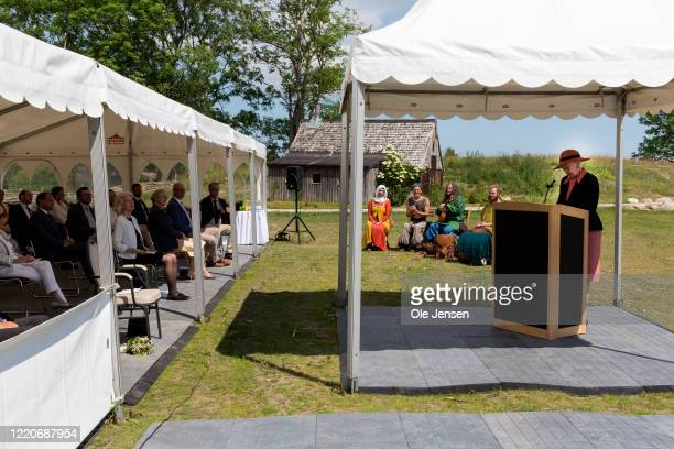 """Queen Margrethe of Denmark speaks at the opening of the world largest Viking Hall at the """"Land of Legends"""" Lejre open air museum on June 17, 2020 in..."""