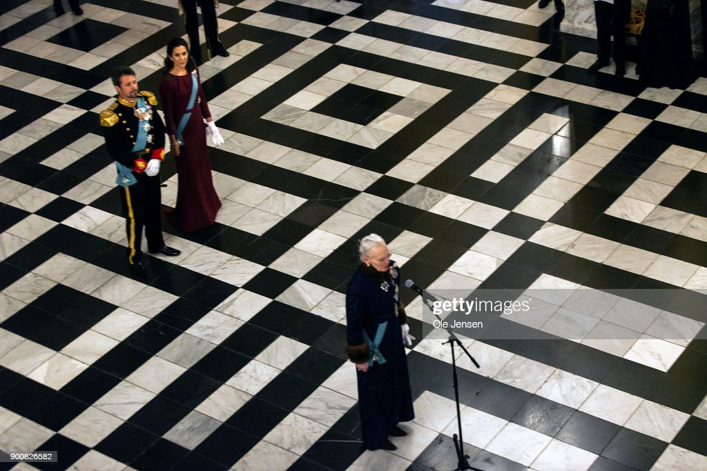 Queen Margrethe of Denmark (c) speaks during the Queen's Traditional New Year's Banquet for foreign diplomats hosted by the Queen at Christiansborg Palace on January 3, 2018 in Copenhagen, Denmark.