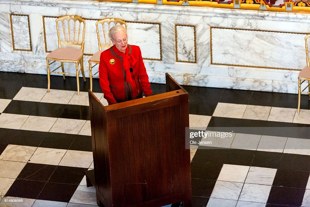 Queen Margrethe of Denmark speaks to the Danish Olympic and Para-Olympic Team during her reception at Christiansborg on October 14, 2016 in Copenhagen, Denmark. The Queen thanked the athletes for their historic achievements in Rio. She also said that she regrets that the Crown Prince could not participate due his bad luck following trampolining, which caused a spine fracture - but joked '... what is a man near fifty doing trampolining'.