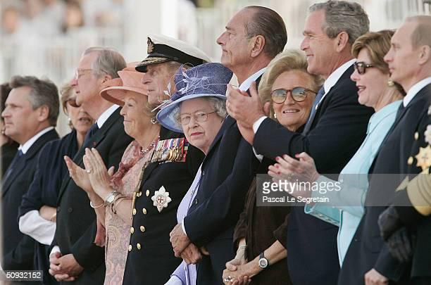Queen Margrethe of Denmark the Duke of Edinbrough Queen Elizabeth II French President Jacques Chirac Bernadette Chirac US President George W Bush...