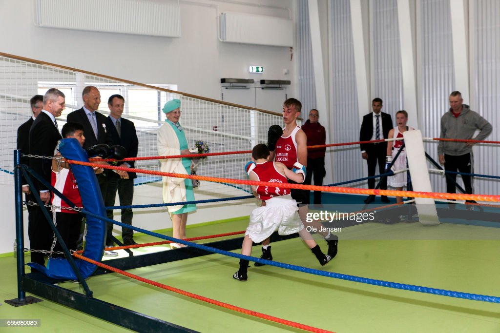 Queen Margrethe of Denmark (C) watch young boxers at the new sports centre 'Spiralen' during her visit to kalundborg where she commence a two days visit on June 13, 2017 in Kalundborg, Denmark. During her stay the Queen will visit many public instituions and private entreprises in Kalundborg, which is a city in western Zealand. After this the Royal ship bring her to Mariager in eastern Jutland for another two days visit.