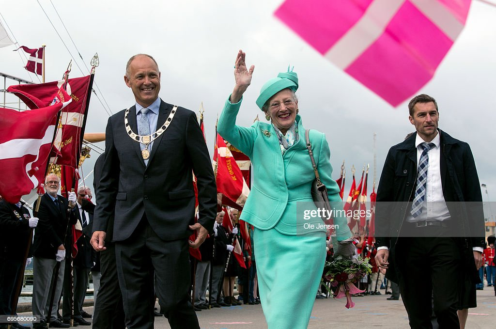 Queen Margrethe of Denmark waves to spectators upon her arrival onboard the Royal ship Dannebrog to Kalundborg harbour where she commence a two days visit on June 13, 2017 in Kalundborg, Denmark. During her stay the Queen will visit many public instituions and private entreprises in Kalundborg, which is a city in western Zealand. After this the Royal ship bring her to Mariager in eastern Jutland for another two days visit.