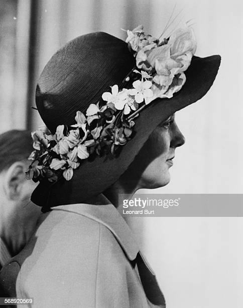 Queen Margrethe of Denmark wearing a hat covered in flowers as she arrives at Burlington House during a state visit Piccadilly London May 2nd 1974