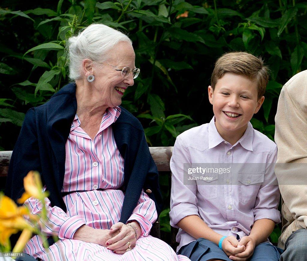 Queen Margrethe of Denmark with her grandchild Prince Christian of Denmark attend the annual summer Photocall for The Danish Royal Family at Grasten Castle, on July 25, 2015 in Grasten, Denmark.