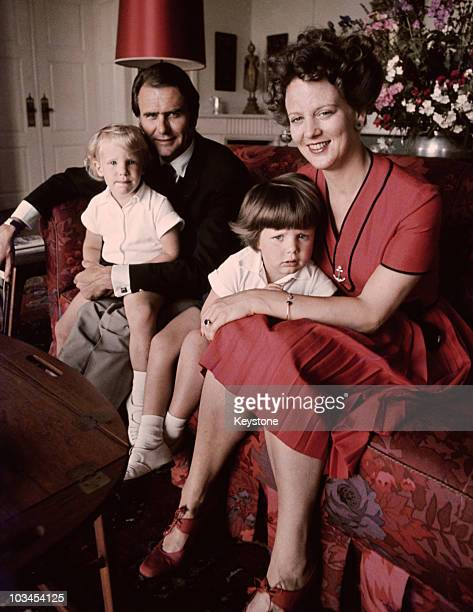 Queen Margrethe of Denmark with her husband Prince Henrik and their sons Joachim and Frederik at Marselisborg Palace in Aarhus in 1972