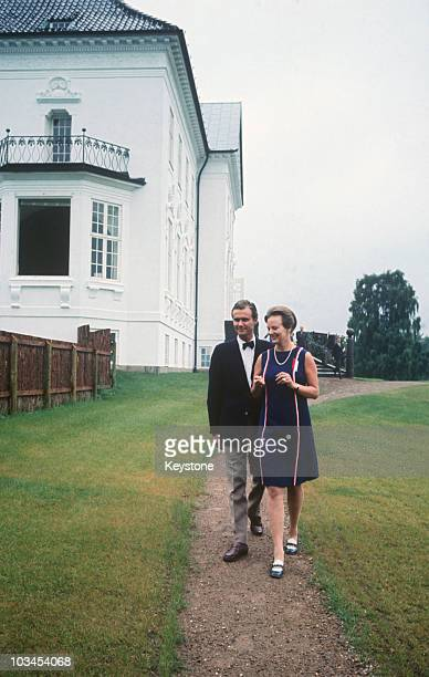 Queen Margrethe of Denmark with her husband Prince Henrik at Marselisborg Palace in Aarhus in 1968