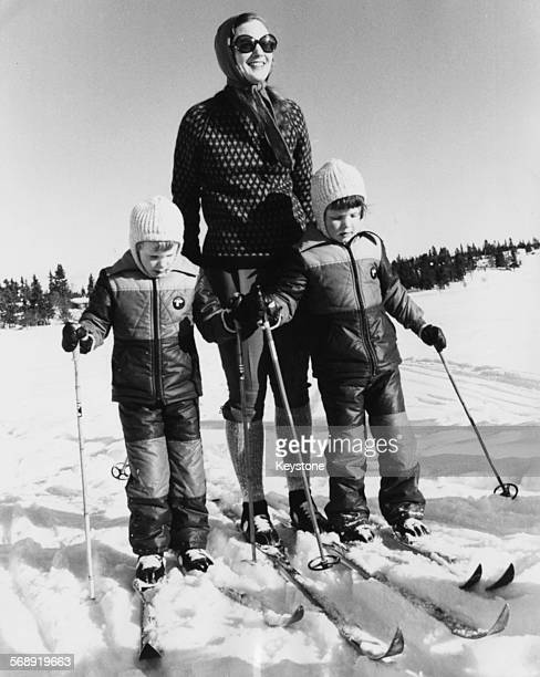 Queen Margrethe of Denmark with her sons Prince Frederik and Prince Joachim on the slopes enjoying a skiing holiday in Norway February 26th 1975