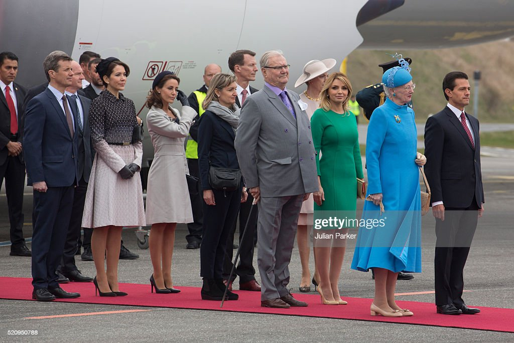 Queen Margrethe of Denmark with President Enrique Pena Nieto, and his wife , and members of The Danish Royal Family at Copenhagen Airport, during the State visit of the President of The United Mexican States, President Enrique Pena Nieto, and his wife Angelica Rivera to Denmark on April 13, 2016 in Copenhagen, Denmark.