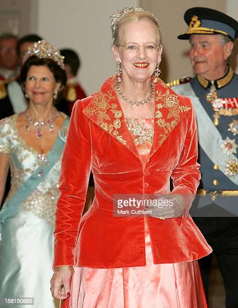 Queen Margrethe Of Denmark-Gala Dinner At Christiansborg In Copenhagen During The Swedish State Visit To Denmark. .