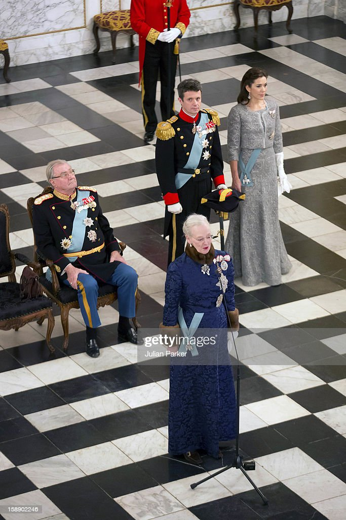 Queen Margrethe, Prince Henrik, Crown Prince Frederik, and Crown Princess Mary of Denmark attend a New Year's Levee held by Queen Margrethe of Denmark for Diplomats, at Christiansborg Palace on January 3, 2013 in Copenhagen, Denmark.