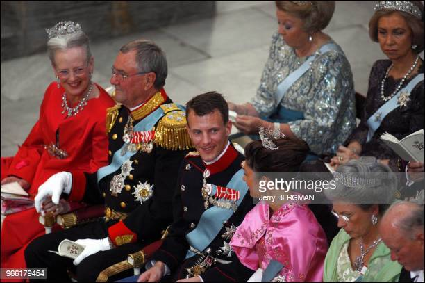 Queen Margrethe Prince Henrik Prince Joachim and Princess Alexandra Second Row Queen Beatric and Queen Sofia