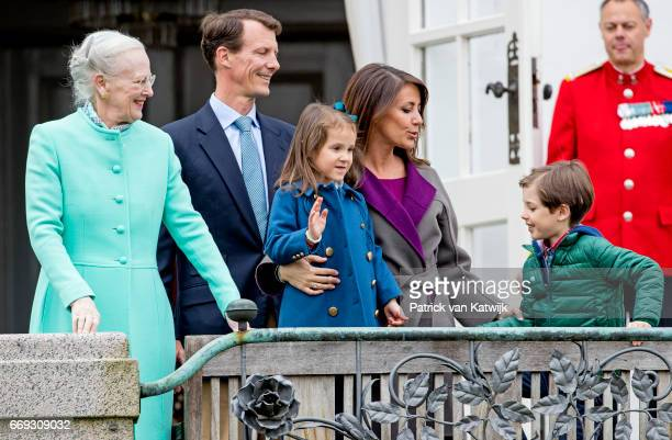 Queen Margrethe Prince Joachim Princess Marie Prince Henrik and Princess Athena of Denmark attend the 77th birthday celebrations of Danish Queen...