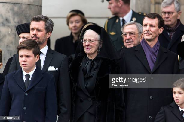 Queen Margrethe together with Crown Prince Frederik his son Prince Christian and Prince Joachim attend as the coffin of Prince Henrik the husband of...
