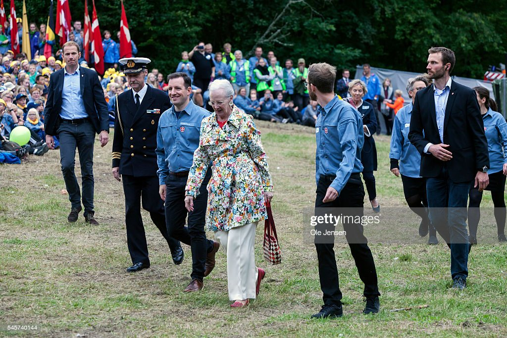 Danish Queen Margrethe Visits FDF Scouts Summer Camp. : News Photo