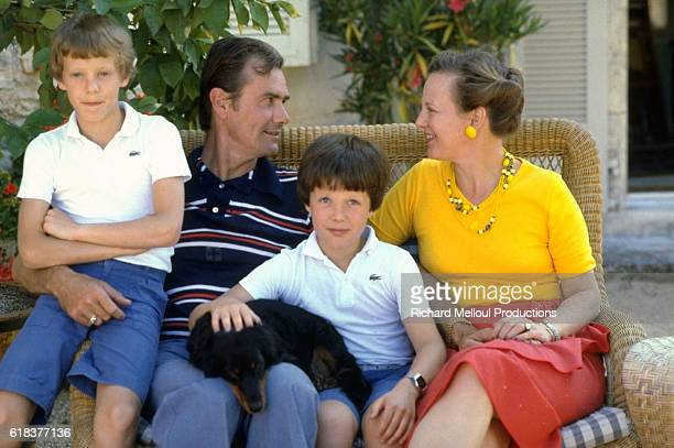 Queen Margrethe with her husband Prince Hendrik and their two sons on their French estate.