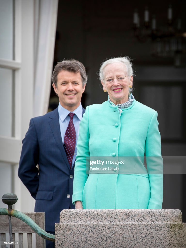 Queen Margrethe with her son Crown Prince Frederik of Denmark attend her 77th birthday celebrations at Marselisborg Palace on April 16, 2017 in Aarhus, Denmark.